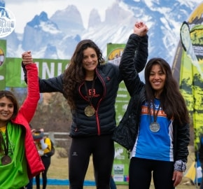 Veronica Bravo and Cindy Ramírez Ultra Trail Running during Ultra Trail Torres del Paine's Third Edition 2016 in Provincia de Última Esperanza, Patagonia, Chile