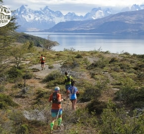 Cindy Ramírez and Juan Carlos Pastén Ultra Trail Running during Ultra Trail Torres del Paine's Third Edition 2016 in Provincia de Última Esperanza, Patagonia, Chile