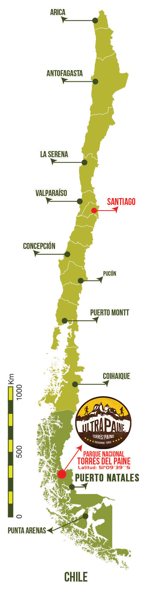 Ultra Paine Mapa General de Chile 2021 Patagonia, Chile